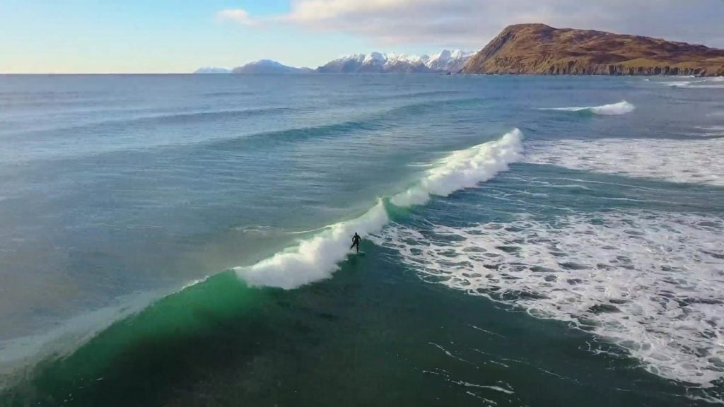 Surfing at Fossil Beach, Kodiak Alaska